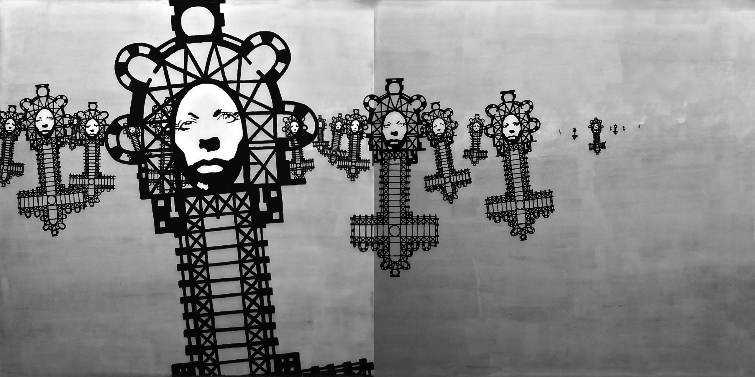 Corpus Christi/corpus delicti, 100 x 200, akryl na pleksi, 2011