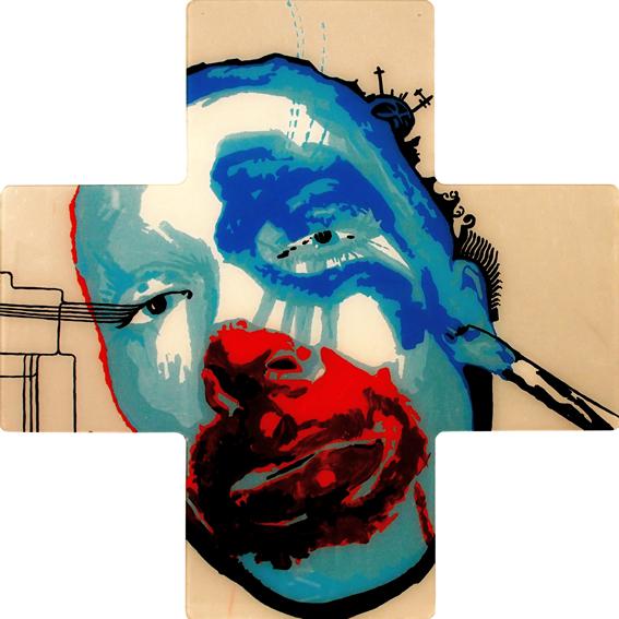KRUCJATA, 70 x 70, akryl na pleksi, 2012
