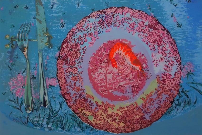 MARTWA NATURA Z KREWETKĄ, 100 x 150, akryl na pleksi, 2013